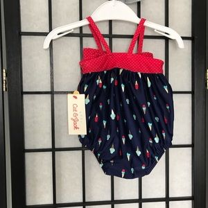NEW Cat & Jack Baby Blue & Red Ice Cream Swimsuit